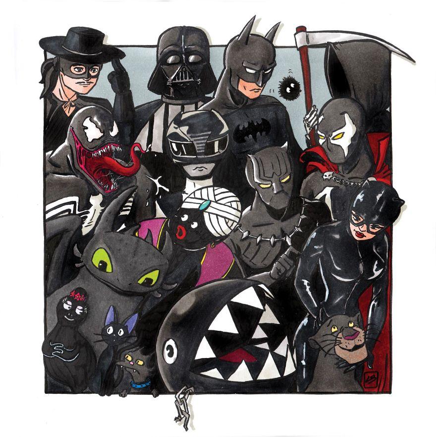 Découvrez le résultat bluffant des dessins de Linda Bouderbala avec les personnages célèbres classé par couleur.