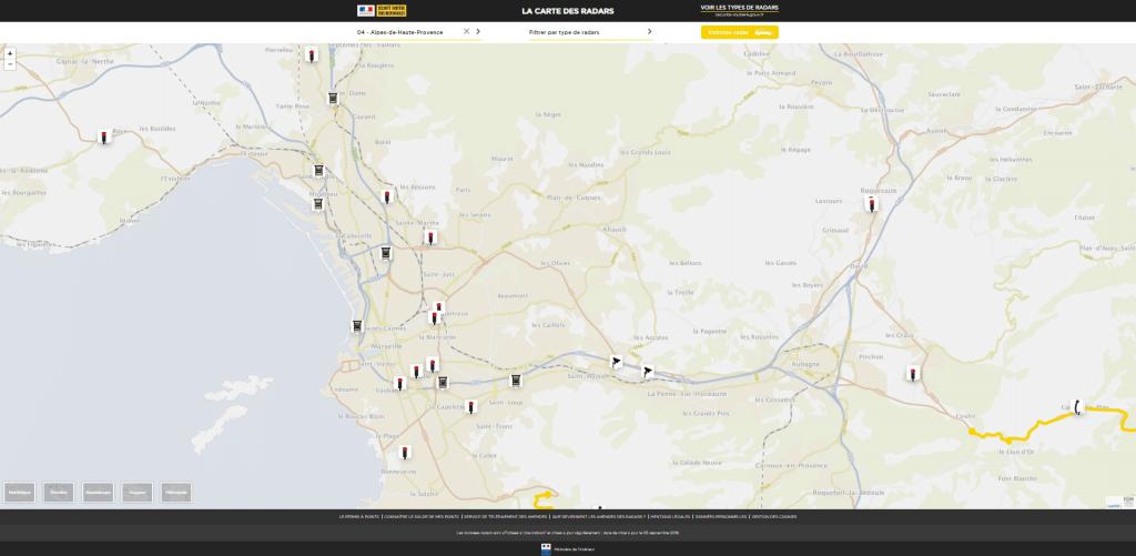 Découvrez l'emplacement de l'ensemble des radars fixes présents sur la commune de Marseille avec leurs descriptifs !