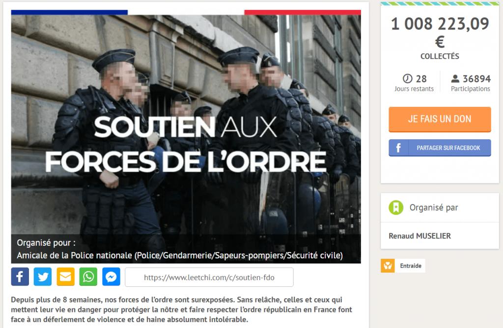 La cagnotte de soutien aux forces de l'ordre a dépassé le million d'euros.