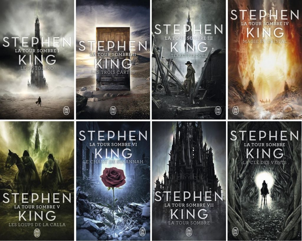 Couvertures des 8 tomes du cycle de La Tour Sombre de Stephen King