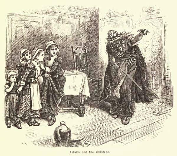 Dessin de Tituba face à des enfants.