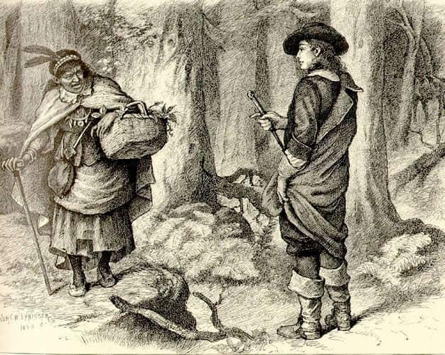 Dessin de Tituba face à un marin anglais.