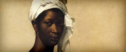 Portrait de Tituba par la couverture du livre Moi, Tituba sorcière... de Maryse Condé.
